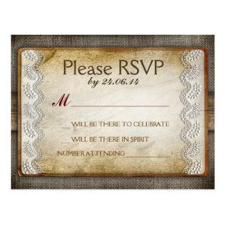 postales apenadas rústicas del rsvp que se casan