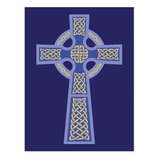 Postales azules de la cruz céltica