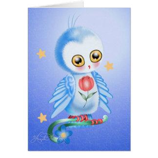 Postales azules del búho dulce tarjetas