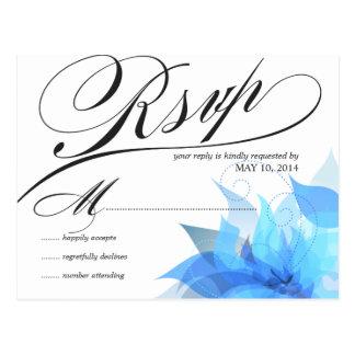 Postales blancas azules de RSVP que se casan