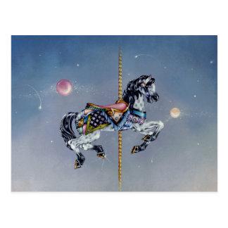 Postales - caballo gris del carrusel de la yegua