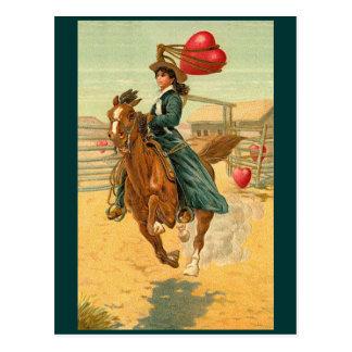 Postales - corazón del lazo del caballo de la vaqu