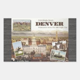 Postales de Denver de la Milla-Alta ciudad, Pegatina Rectangular