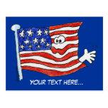 Postales de la bandera americana del dibujo animad