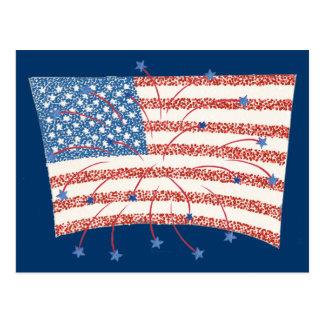 Postales de la bandera del Pointillism U S de los