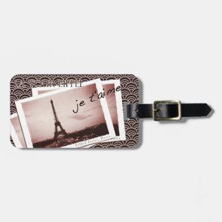 Postales de la fotografía del vintage de París Etiquetas De Maletas