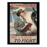 Postales de la guerra del vintage, infantes de mar