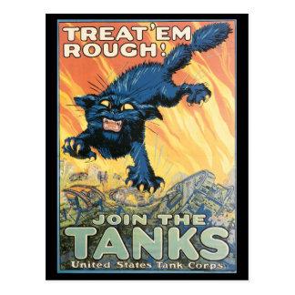 Postales de la guerra del vintage, poster del tanq