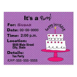 Postales de la invitación de la fiesta del cumplea