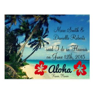 Postales de la invitación del boda de Hawaii de la
