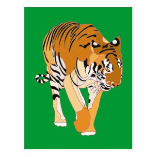 Postales de la pintura de Digitaces del tigre que