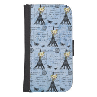 Postales de la torre Eiffel del vintage en azul Funda Billetera Para Teléfono
