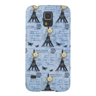 Postales de la torre Eiffel del vintage en azul Fundas Para Galaxy S5