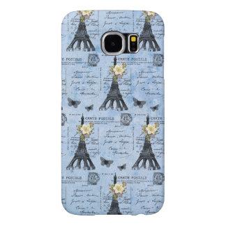 Postales de la torre Eiffel del vintage en azul Fundas Samsung Galaxy S6