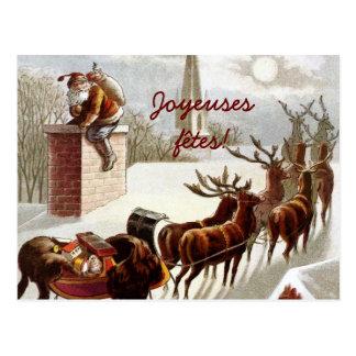 Postales de las cartas del traîneau y del renne