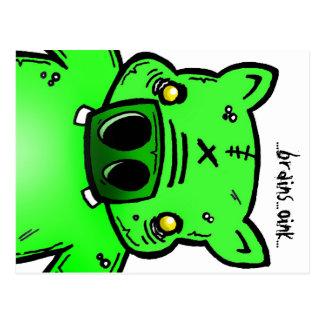 Postales de los cerebros del cerdo del zombi Oink