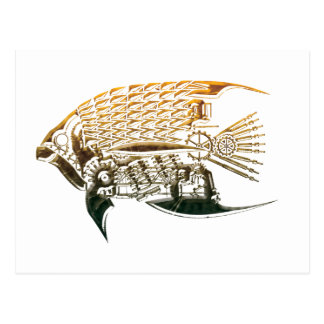 Postales de los pescados de Steampunk