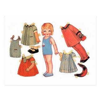 Postales de papel de la muñeca de la niña