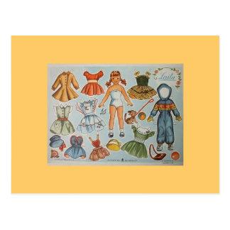 Postales de papel de la muñeca