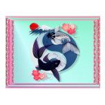 Postales de Yin y de Yang Koi