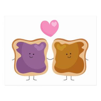 Postales del amor de la mantequilla y de la jalea