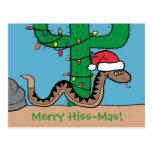 Postales del cactus de navidad de la serpiente de