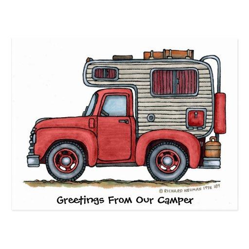 Postales del campista rv de la camioneta pickup
