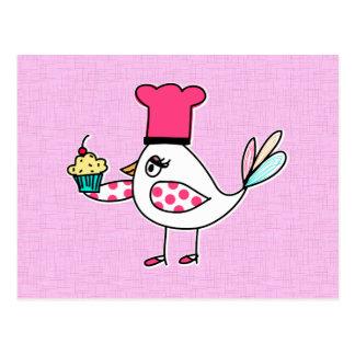 Postales del chef de repostería del pájaro