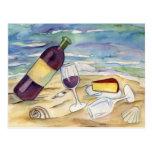 Postales del fiesta de la playa del vino rojo y