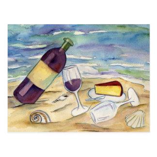 Postales del fiesta de la playa del vino rojo y de