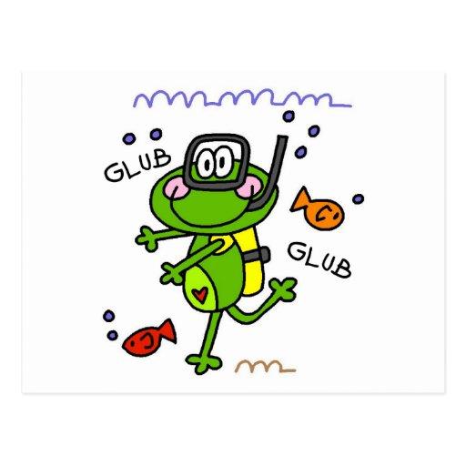 Postales del muchacho de Froggie del buceo con esc