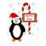 Postales del navidad de Polo Norte del pingüino de