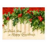 Postales del navidad del acebo del Victorian
