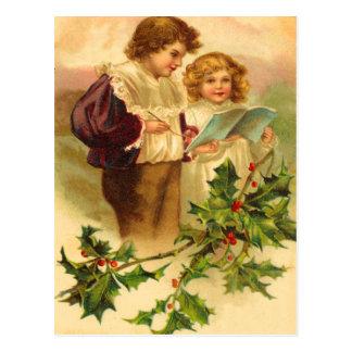 Postales del navidad del acebo del vintage