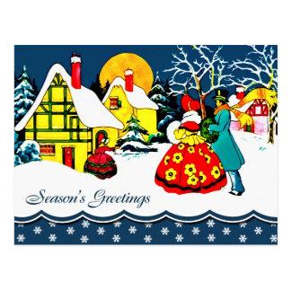 Postales del navidad del diseño del vintage del