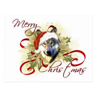Postales del navidad del lobo