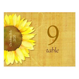 Postales del número de la tabla del boda del giras