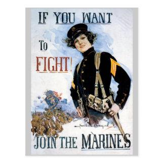 Postales del poster de la guerra, infantes de mari