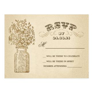 postales del rsvp del boda del tarro de albañil de
