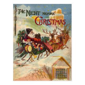 Postales del trineo del reno de Papá Noel del vint