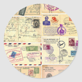 Postales del viaje del vintage pegatina redonda