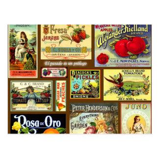 Postales del vintage de la etiqueta de la fruta