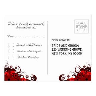 Postales elegantes florales rojas y blancas de la