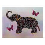 Postales exóticas del elefante de la joya