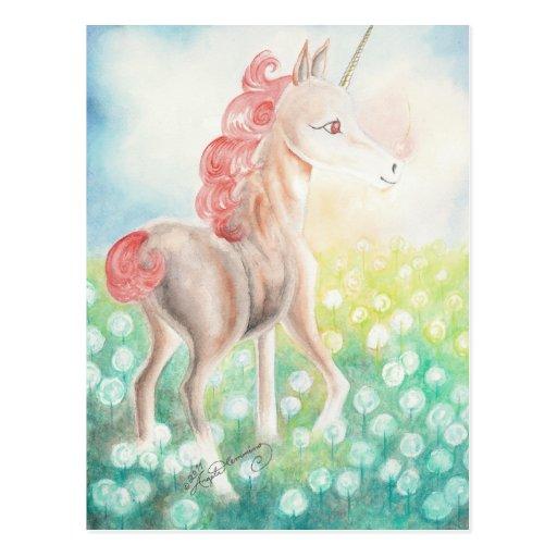 Postales felices del unicornio de la castaña, tarj