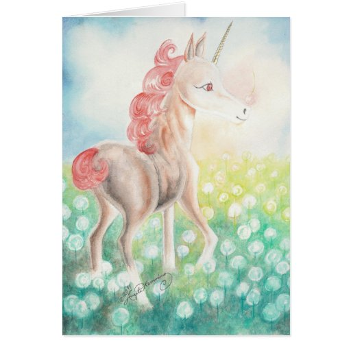 Postales felices del unicornio de la castaña, tarj tarjeta pequeña
