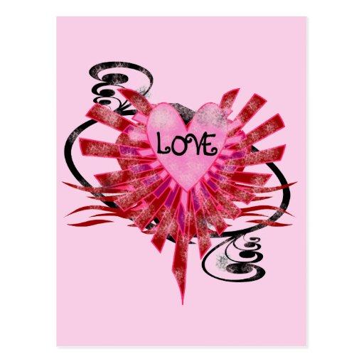 Postales frescas del corazón del amor