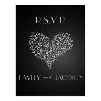 "postales grises del rsvp del boda ""con amor """