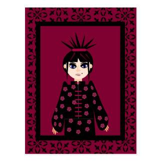Postales orientales del chica del gótico del estil