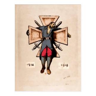 Postales pacifistas de la imagen del soldado franc